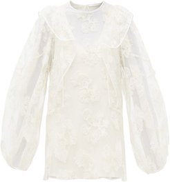 Festive Floral-embroidered Tulle Blouse - Womens - Ivory