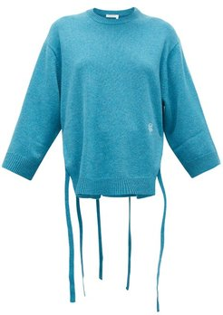 Iconic Monogram-embroidered Cashmere Sweater - Womens - Mid Blue