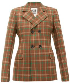 Double-breasted Checked Wool Blazer - Womens - Brown Multi