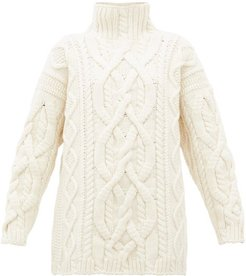 Cable-knitted Merino-wool Blend Sweater - Womens - Ivory