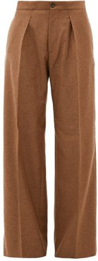 Pleated Wide-leg Felted-twill Trousers - Womens - Camel