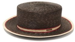 Striped Straw Boater Hat - Womens - Brown