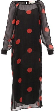 Elisabetta Polka-dot Crepon Midi Dress - Womens - Black Print