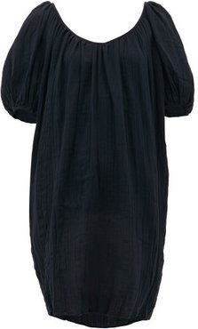 Odine Tie-back Cotton Dress - Womens - Black