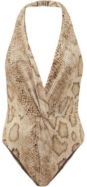 Gabriela Snake-print Ruched-front Swimsuit - Womens - Cream Print