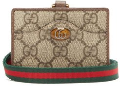 Ophidia Gg Supreme Coated-canvas Cardholder - Womens - Grey Multi