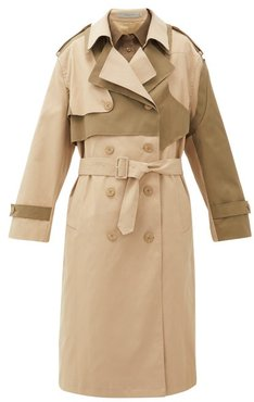 Adel Asymmetric Double-breasted Twill Trench Coat - Womens - Beige