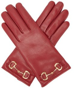 Horsebit Leather Gloves - Womens - Red