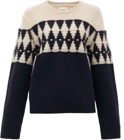 Romme Diamond-jacquard Cashmere Sweater - Womens - Navy Multi