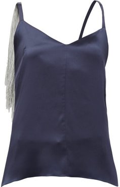 Fringed Silk-satin Camisole - Womens - Navy