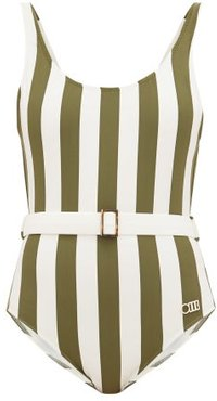 The Anne-marie Belted Striped Swimsuit - Womens - Green Stripe