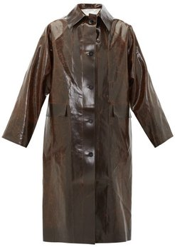 Skai Faux-leather Trench Coat - Womens - Dark Brown