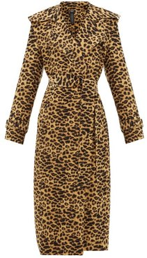 Double-breasted Leopard-print Trench Coat - Womens - Leopard