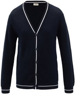 Striped Cotton Cardigan - Mens - Navy