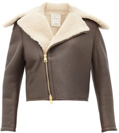 Shearling And Leather Jacket - Womens - Brown Multi