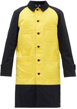 Single-breasted Contrasted Cotton Coat - Mens - Yellow