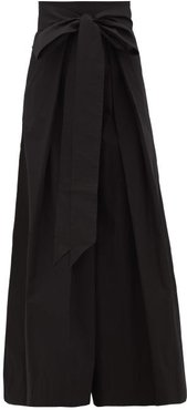 Avendon High-rise Belted Cotton Wide-leg Trousers - Womens - Black