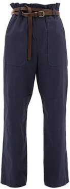 Scott Belted Paperbag Stretch-cotton Trousers - Womens - Navy