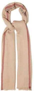 Fringed-edge Cashmere-blend Twill Scarf - Mens - Beige