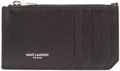Logo-print Leather Cardholder - Mens - Black
