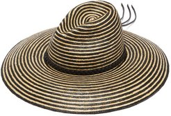 Leather-trimmed Striped Straw Panama Hat - Mens - Beige