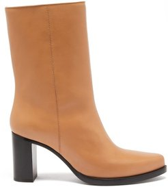 Stacked-heel Leather Boots - Womens - Tan