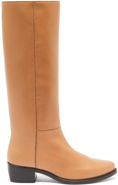 Knee-high Leather Riding Boots - Womens - Tan