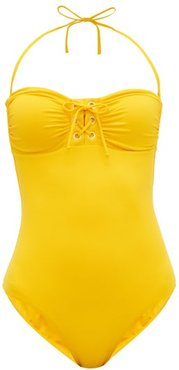 Beijing Lace-up Bandeau Swimsuit - Womens - Yellow