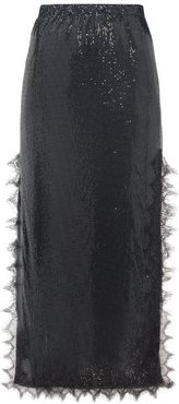 Lace-trim Chainmail Midi Skirt - Womens - Black