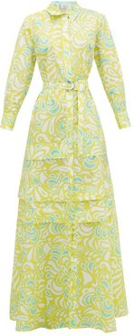 Daisy Floral-print Cotton-poplin Maxi-dress - Womens - Yellow Print