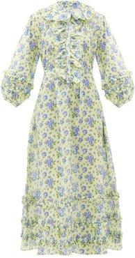 English Rose Floral-print Ruffles Cotton Dress - Womens - Blue Print