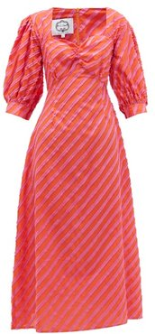 Rabat Stripe-appliqué Cotton-poplin Dress - Womens - Orange Multi
