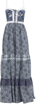 Jemma Floral-print Cotton Maxi Dress - Womens - Blue Print