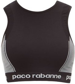 Logo-jacquard High-impact Sports Bra - Womens - Black Grey