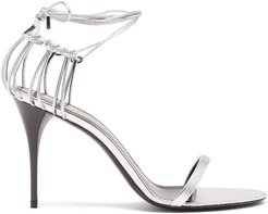 Lexi Wraparound Cage-heel Leather Sandals - Womens - Silver