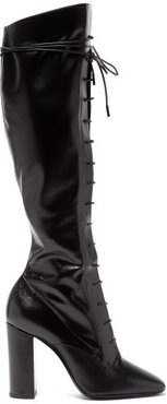 Laura Lace-up Knee-high Leather Boots - Womens - Black