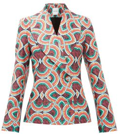Double-breasted Marble-print Satin-faille Jacket - Womens - Red Multi
