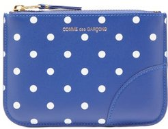 Polka-dot Leather Coin Purse - Womens - Navy Multi