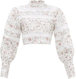 Haisley Floral-print Lace-trim Linen Top - Womens - Ivory Multi