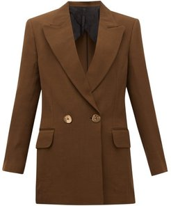 Double-breasted Wool-blend Jacket - Womens - Brown