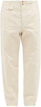 Buttoned-cuff Cotton Straight-leg Trousers - Mens - Ivory