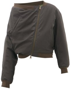Upside-down Cotton-canvas Bomber Jacket - Mens - Dark Green