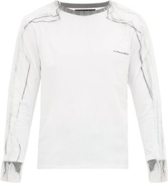 Long-sleeved Tulle-overlay Cotton-jersey T-shirt - Mens - White Black