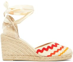 Craby 80 Striped Canvas And Jute Platform Wedges - Womens - Red White