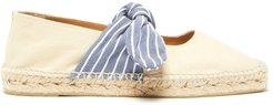 Pura Bow-tied Canvas Espadrilles - Womens - Cream Navy