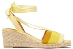 Delia 60 Grosgrain And Canvas Platform Wedges - Womens - Yellow