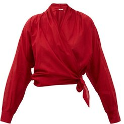 Claudia Cotton Wrap Top - Womens - Red