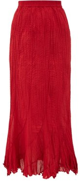 Casta Pleated Cotton Midi Skirt - Womens - Red