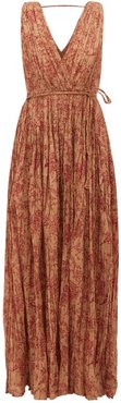 Joconde Floral-print Pleated-cotton Dress - Womens - Brown Print