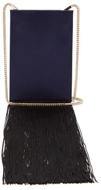 Fringed Satin Shoulder Bag - Womens - Navy